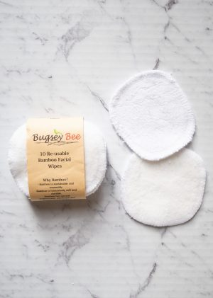 Bugsey Bee Re-usable Bamboo Facial Wipes 10 Pack